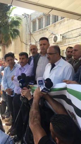 مؤتمر صحفي حول اصابة الصحفي احمد ابو حسين